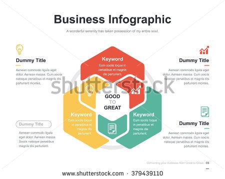 Flat Business Presentation Vector Slide Template With Hexagon Venn
