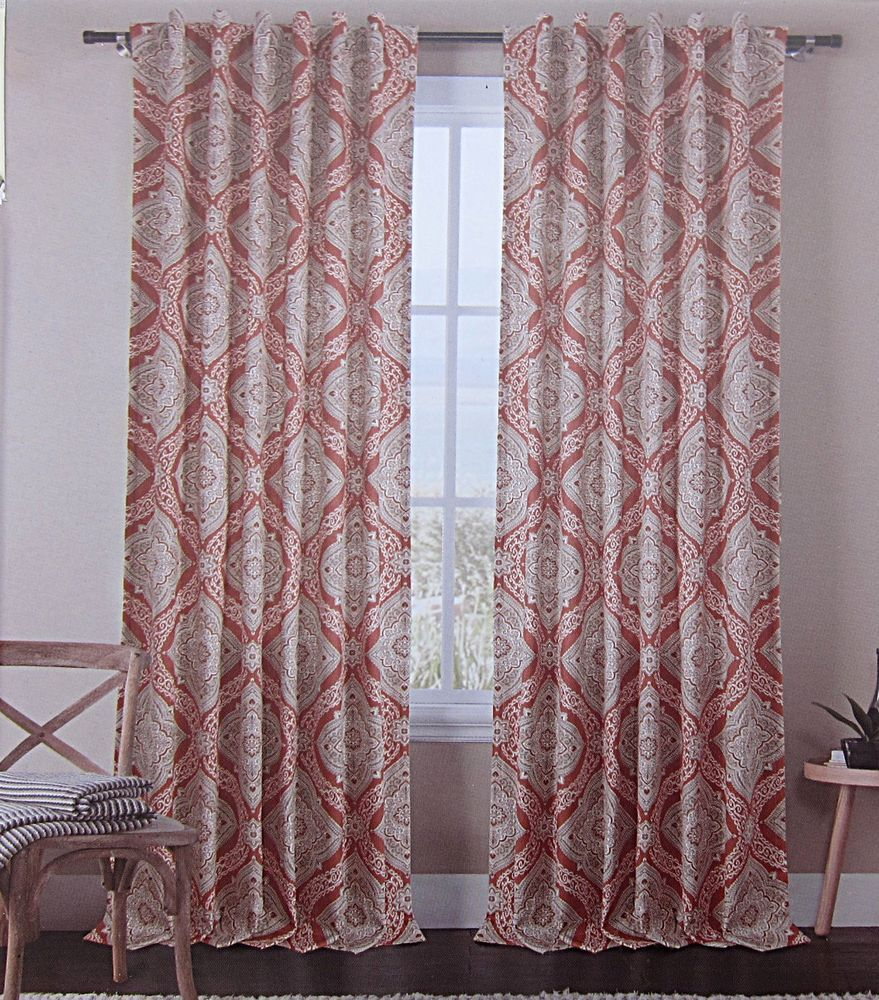 ENVOGUE Ikat Medallions Window Curtain Panels Set Of 2 Drapes Pair Tan Rust  Red
