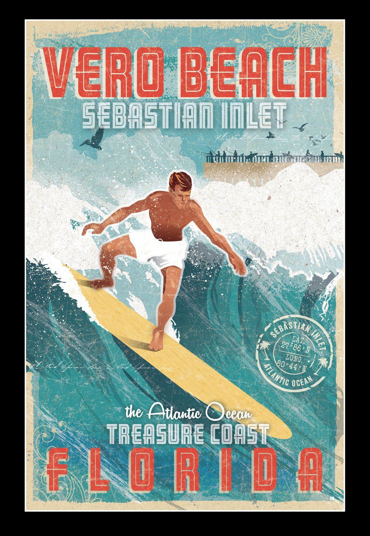Vero Beach Modern Vintage Poster Prints Beutler Design Illustration Beach Modern Vero Beach Vero Beach Florida