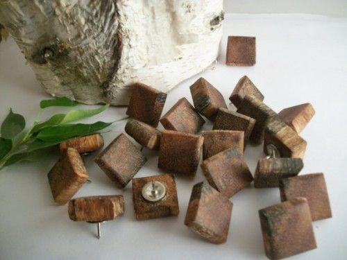 25 Square wood thumb tacks Push Pins for bulletin boards or cork board