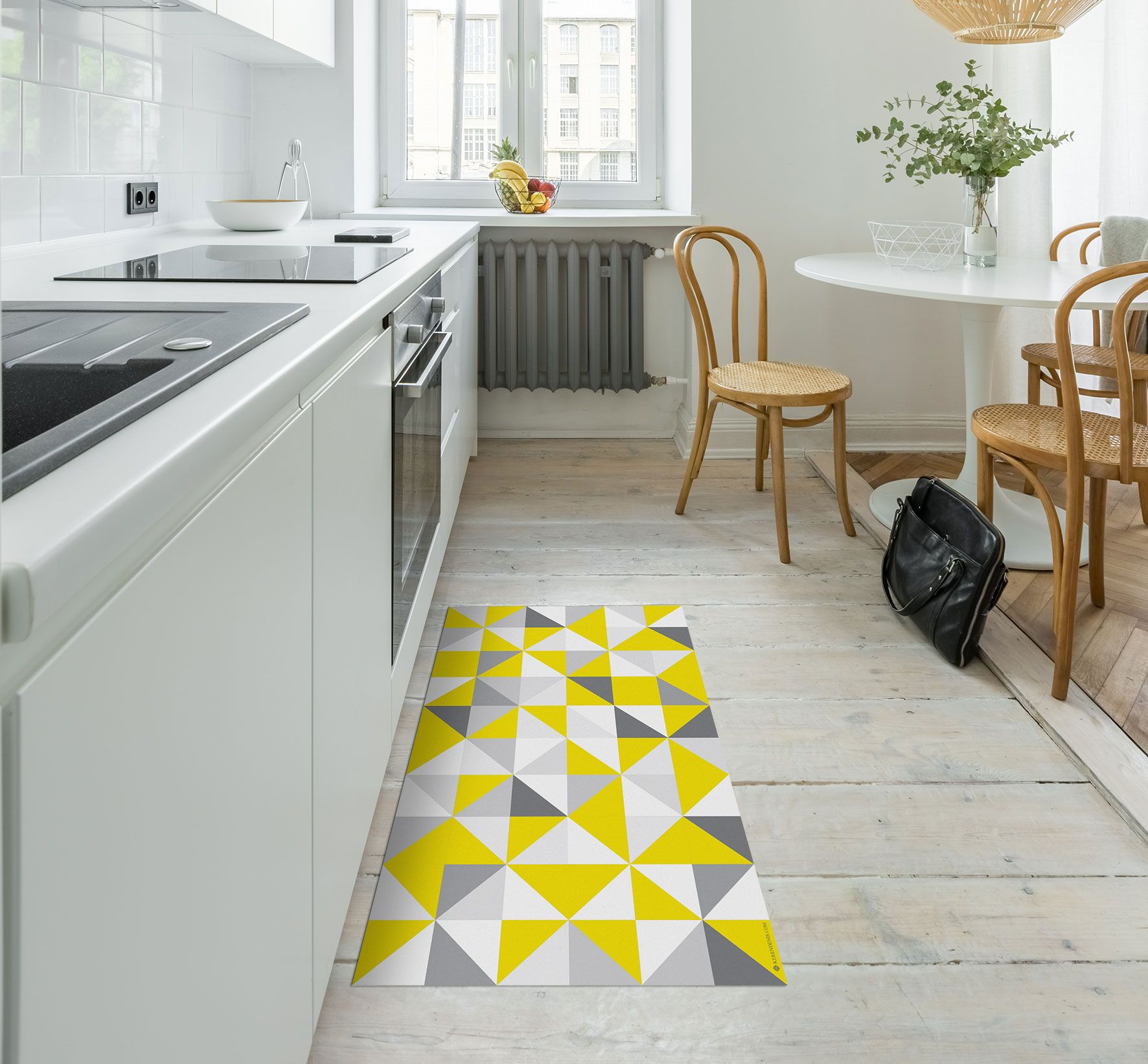 Yellow Geometric Floor Mat Scandinavian Rug Modern Rug