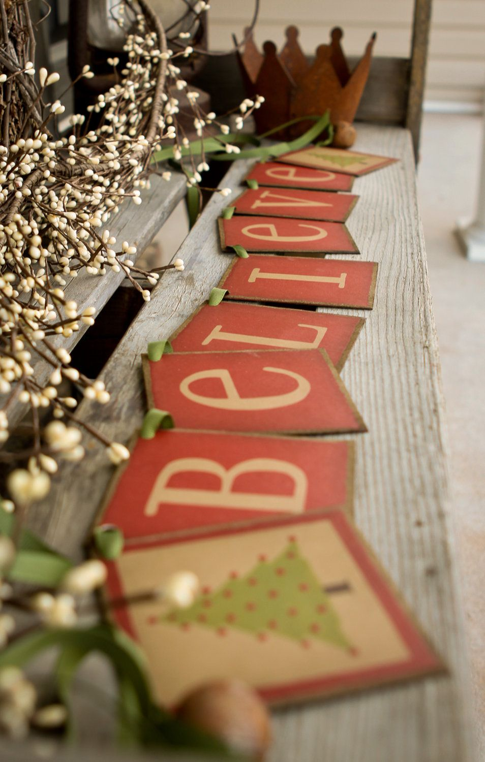 Primitive CHRISTMAS banner BELIEVE BANNER by thecracklingcrows, $30.00