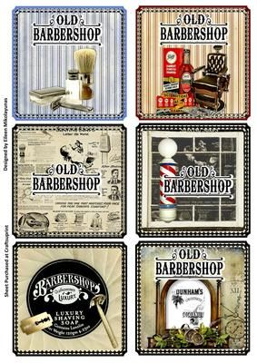 images of antique barber shop lables | Father's Day SIX Vintage Barbershop Card Toppers by Eileen Mikolayunas