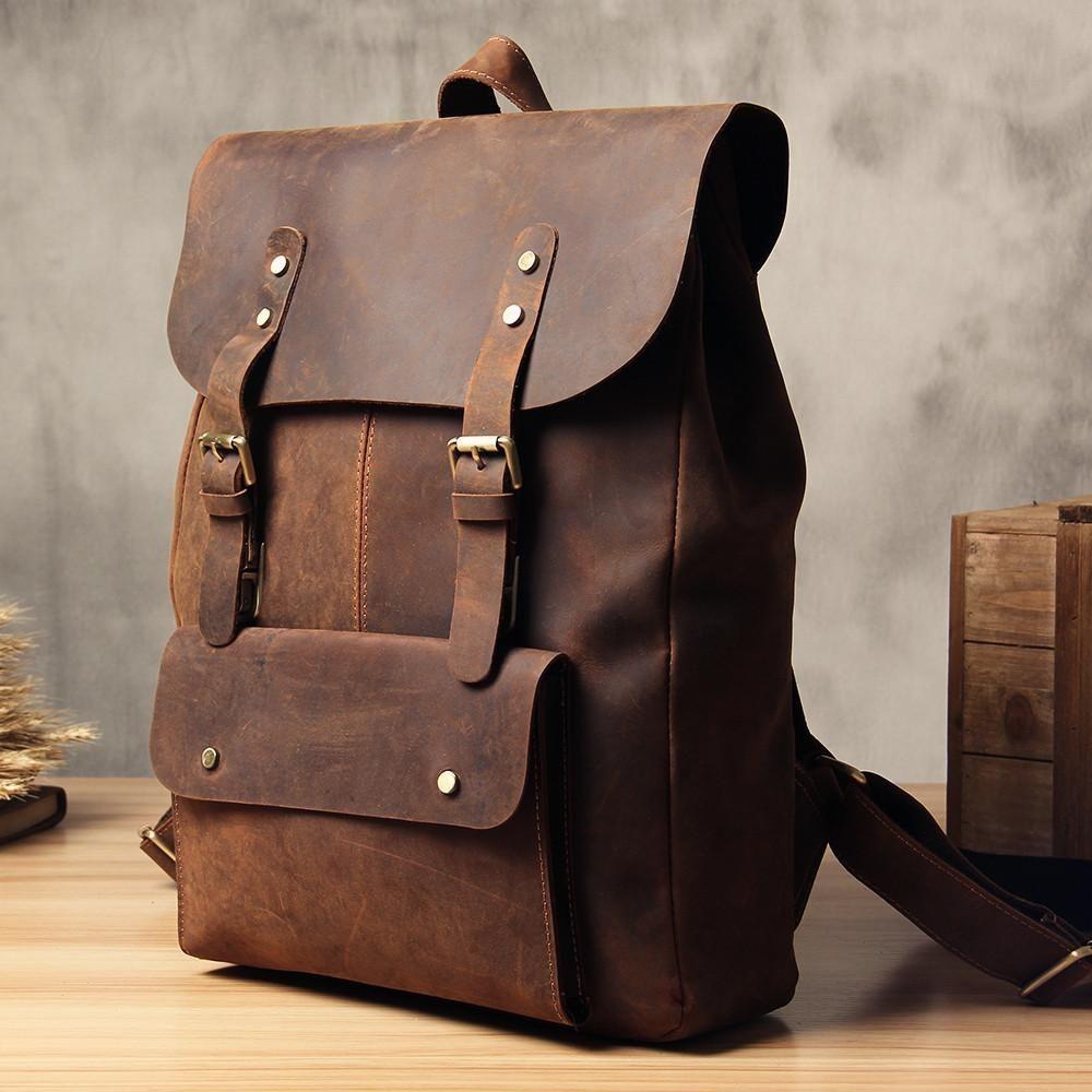 Vintage Leather School Backpack Casual Travel Backpack Laptop Bag in Vintage Brown 9452 - LISABAG