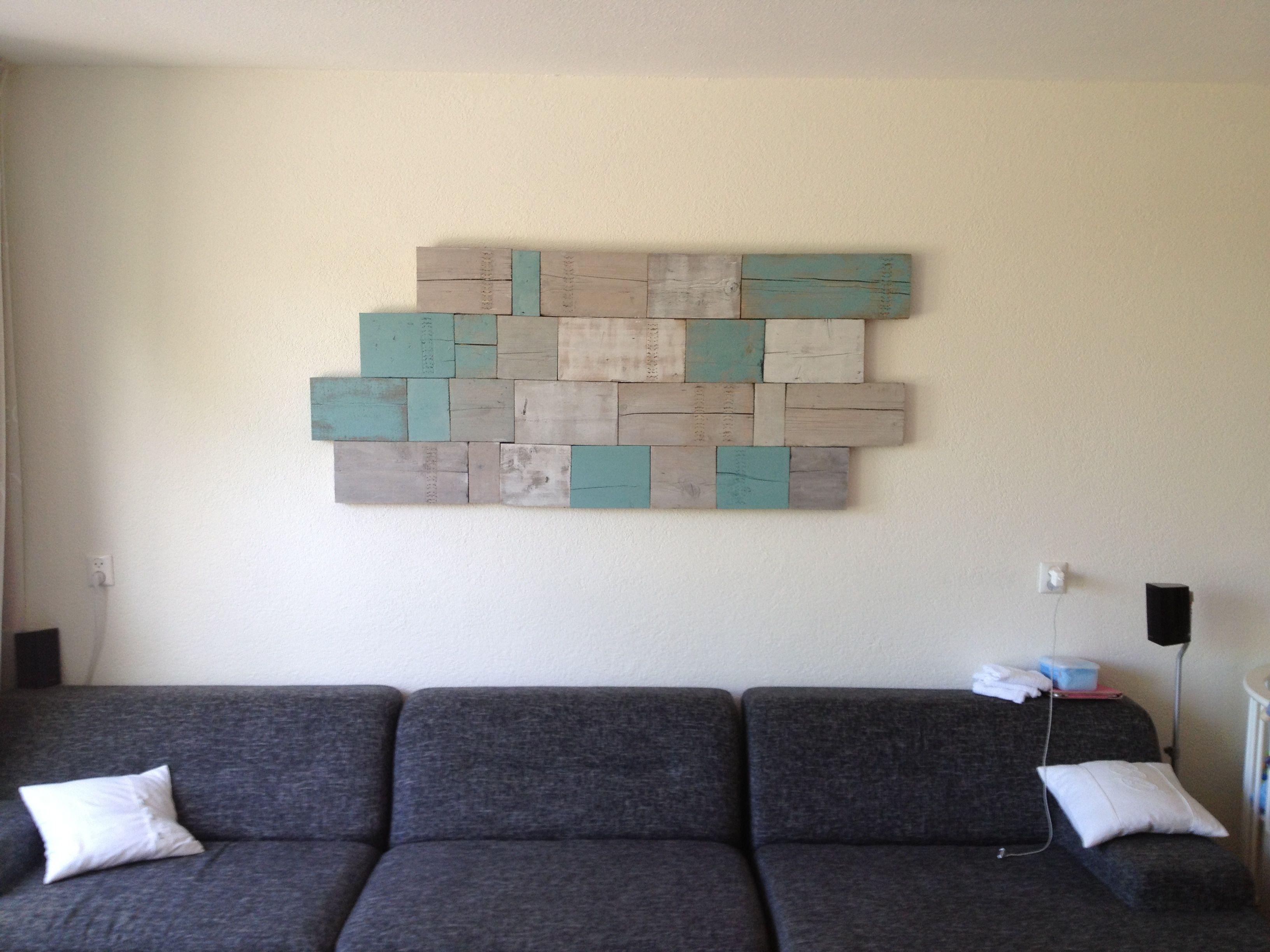muurdecoratie gemaakt van resthout (steigerhout) verf en houtzeep, Deco ideeën
