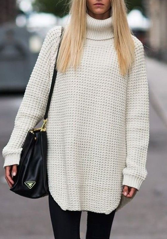 Simple yet stylish, this white sweater is perfect for the cold ...