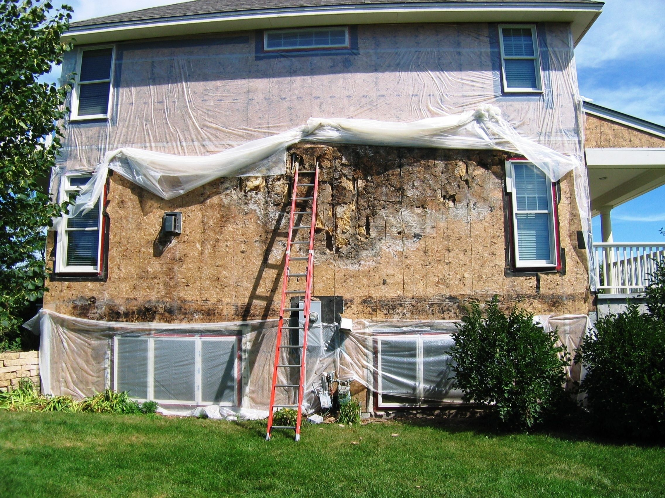 Rotten osb all of the stucco was removed from this 10 - How much to stucco exterior of house ...