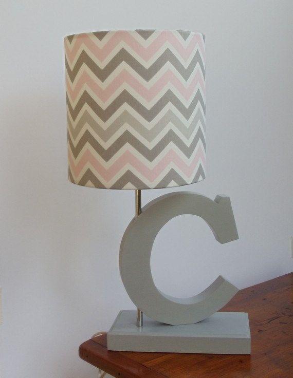 Chevron Drum Lamp Shade, Pink Grey And White Lamp Shade