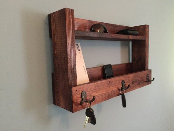 Rustic Entryway Shelf Key Holder Mail Organizer Cherry Shelf With Hooks Kitchen Shelf Farmhouse Rustic Entryway Shelves Rustic Country Kitchen Decor