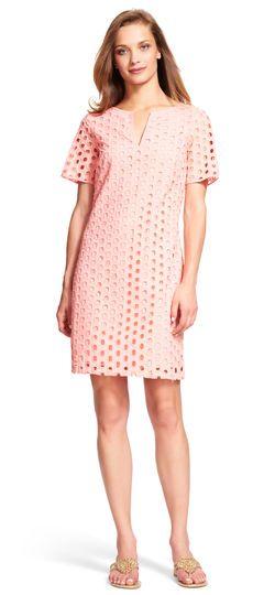 bb5685048559 Adrianna Papell square eyelet shift dress
