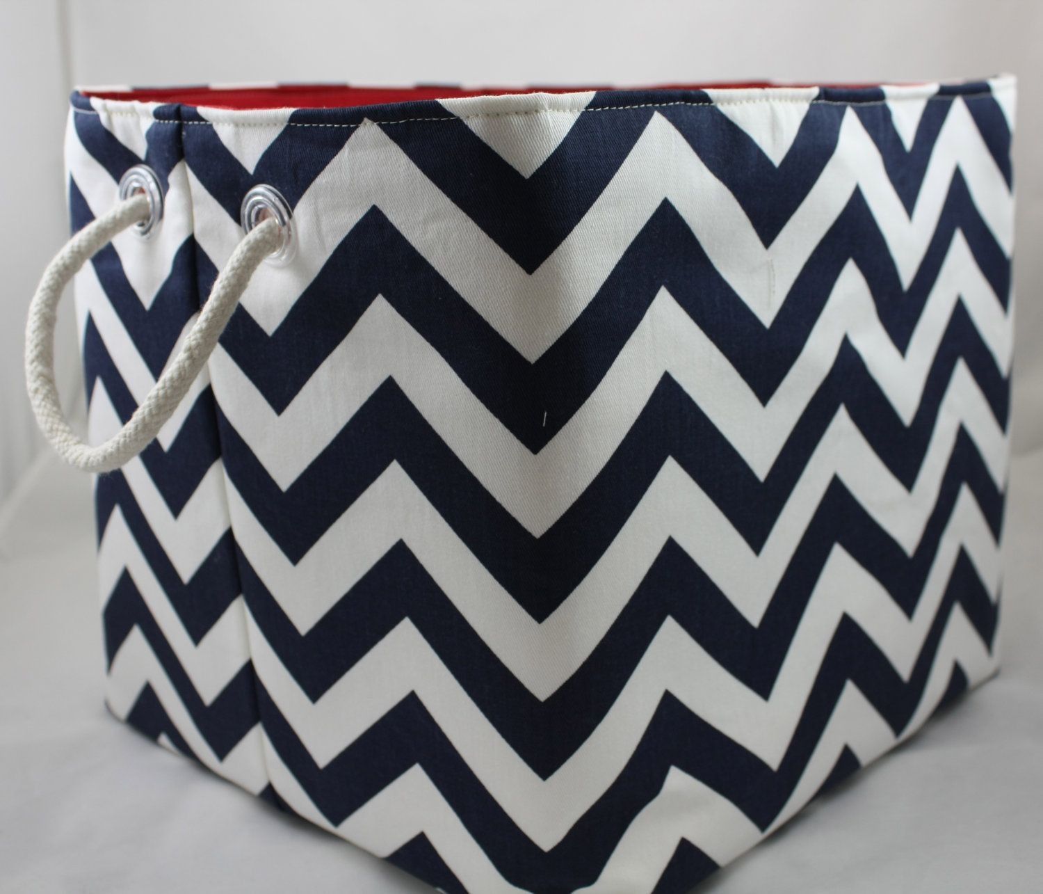 Genial NEW 12 X 12 X 10 Fabric Organizer Storage Container Basket Bin   ZigZag  Choose Your Color Combinations Rope Handles. $44.00, Via Etsy.