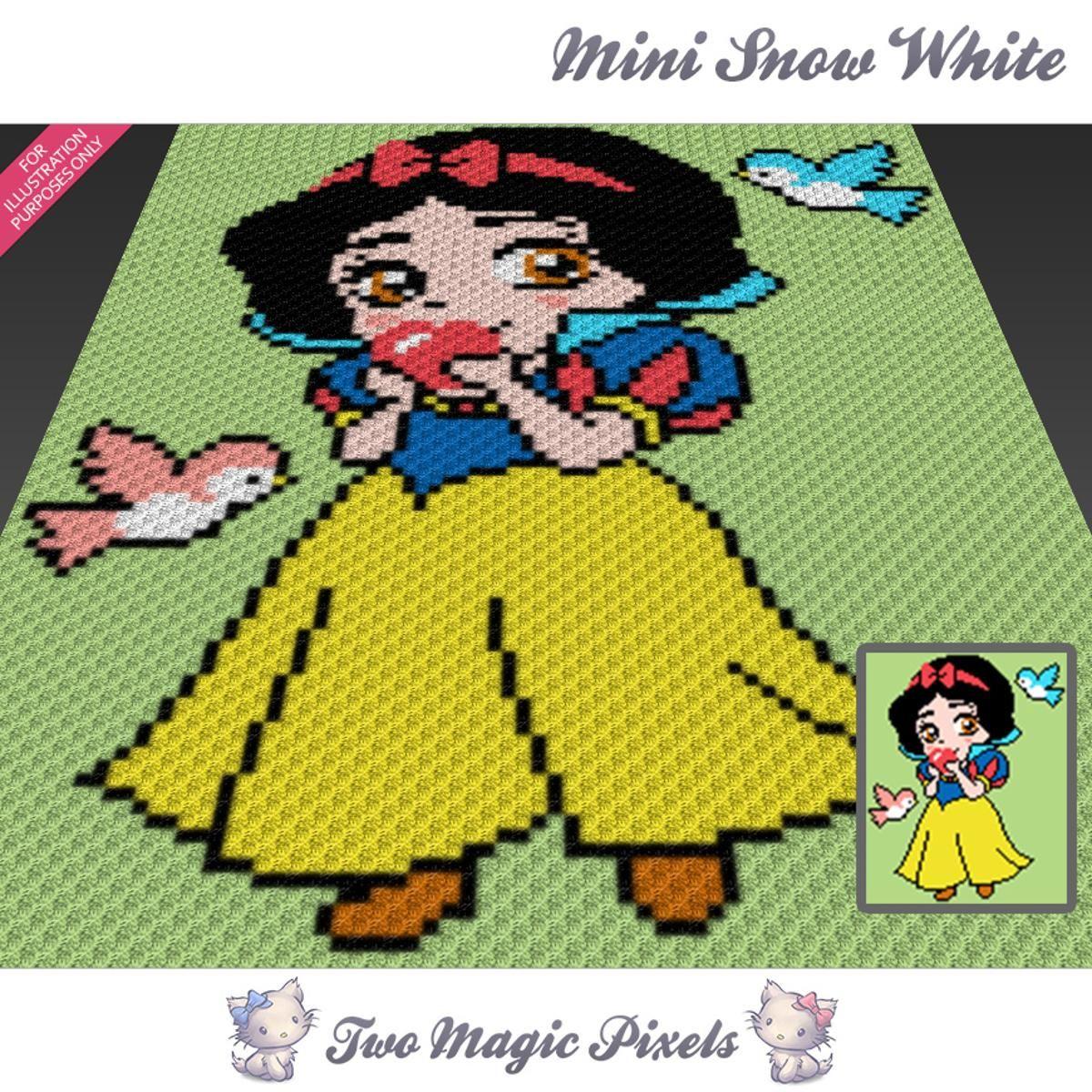 Mini Snow White C2C Crochet Graph | Mantas de bebes, Mantas tejidas ...