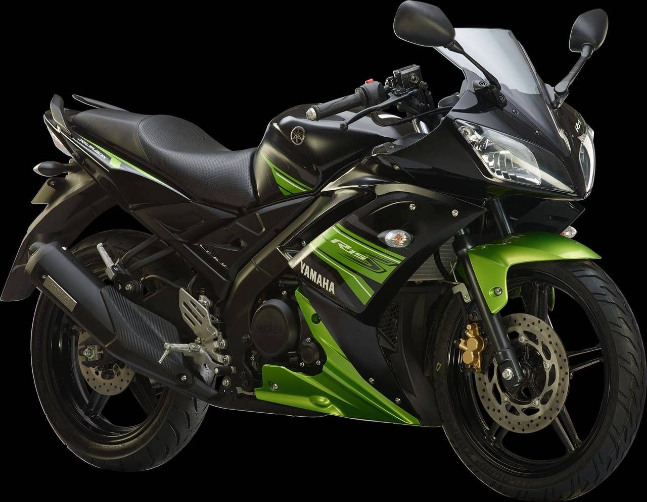 Yamaha R15 S Black with green | Places to Visit | Yamaha yzf, Yamaha