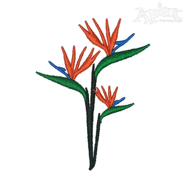Bird Of Paradise Flower Embroidery Design Flower Embroidery Designs Birds Of Paradise Flower Embroidery Flowers