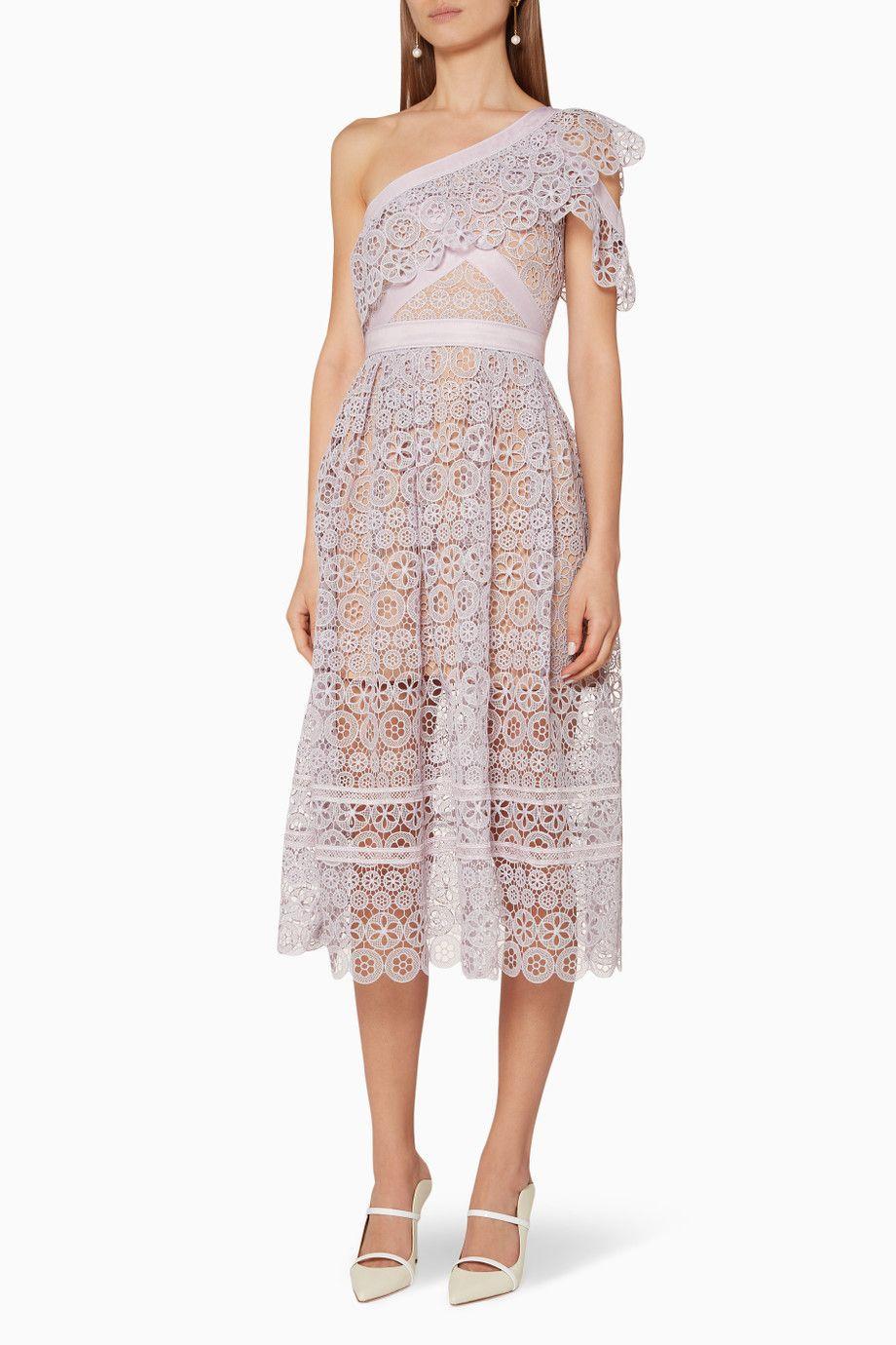 1cfb8ab27ac3 Shop Luxury Self-Portrait Lilac One Shoulder Floral Lace Dress | Ounass UAE