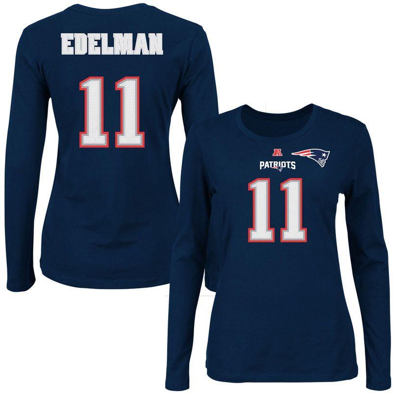 Julian Edelman New England Patriots Majestic Women S Fair Catch V Name Number Long Sleeve T Shirt Navy Blue New England Patriots Apparel T Shirts For Women New England Patriots