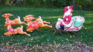 Empire Santa Sleigh 4 Reindeer Lighted Christmas Blow Mold Outdoor Decorat Retro Christmas Decorations Xmas Decorations Outdoor Vintage Christmas Decorations