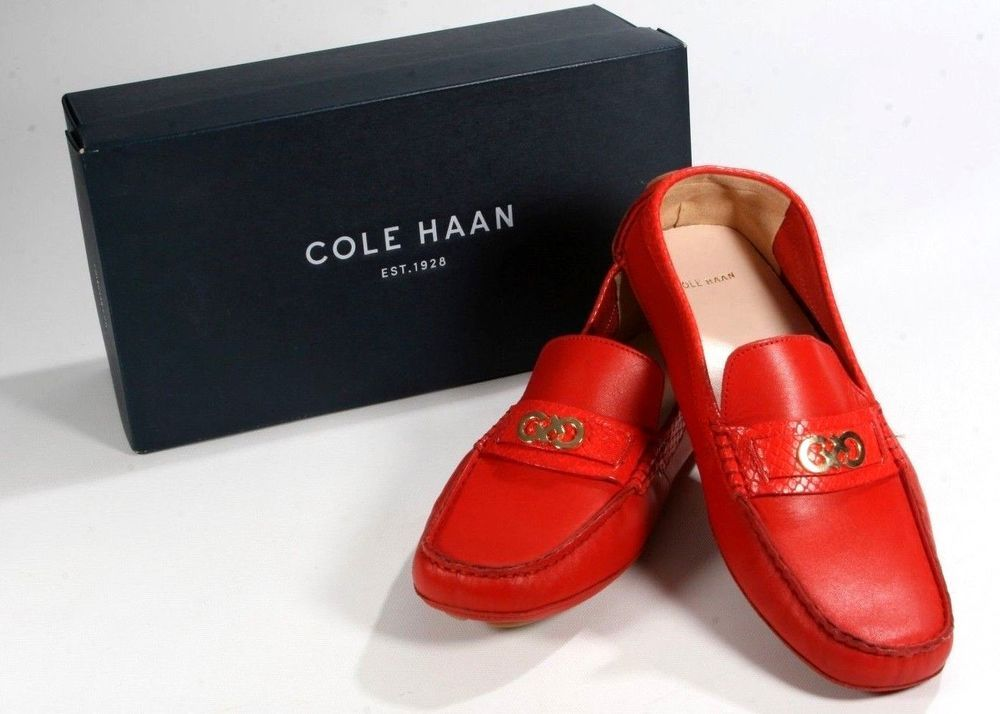 702b1326041 New Cole Haan Fiery Red Leather Shelby Logo II Ladies Loafers Size 9.5 M  W Box  ColeHaan  Loafers  Casual