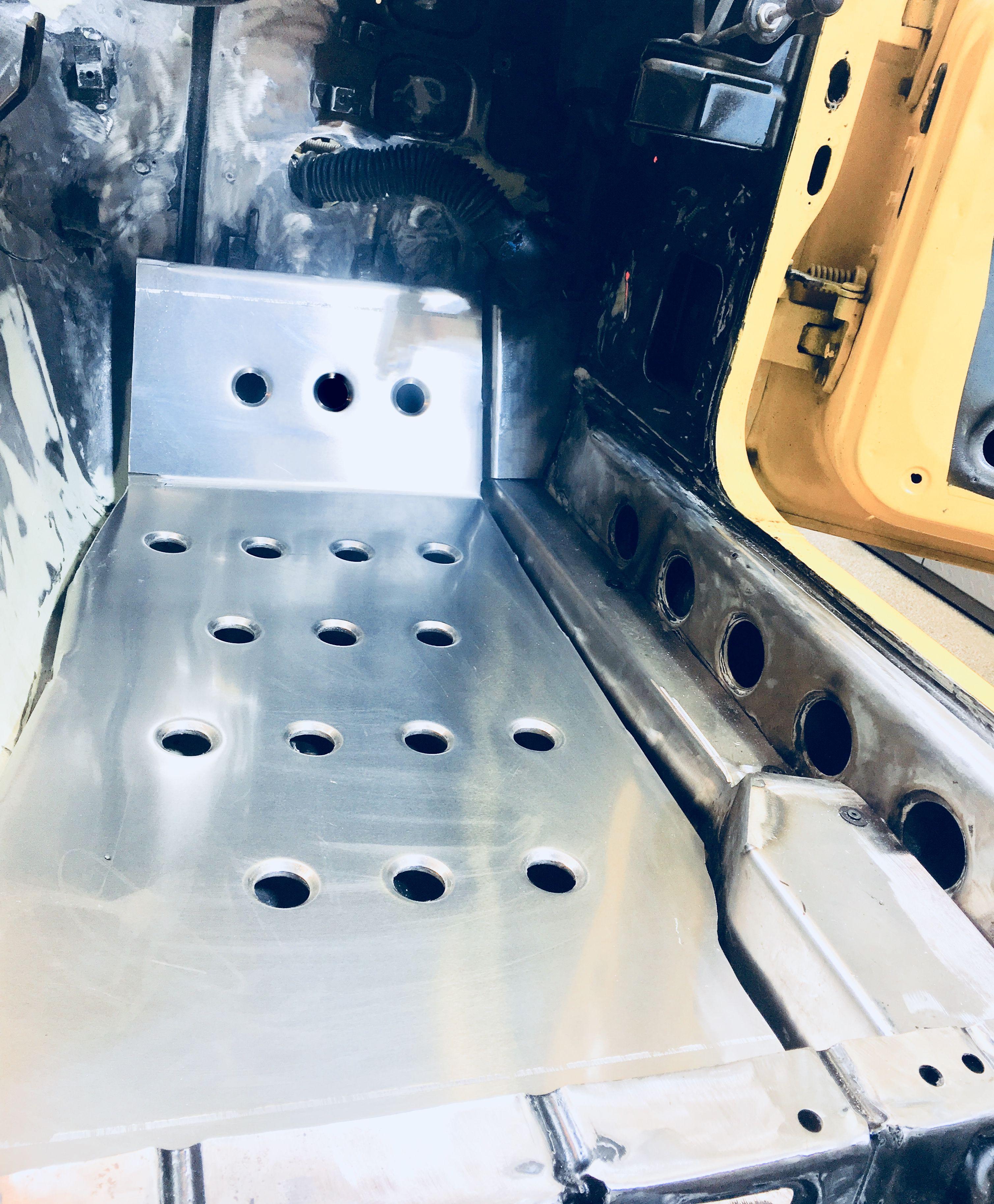 race plate floor pan datsun 240z 260z 280z aluminum dimple dies with wire harness cover [ 3017 x 3654 Pixel ]
