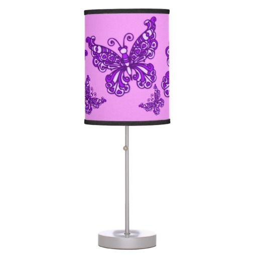 Butterfly purple girls room patterned graphic lamp ...