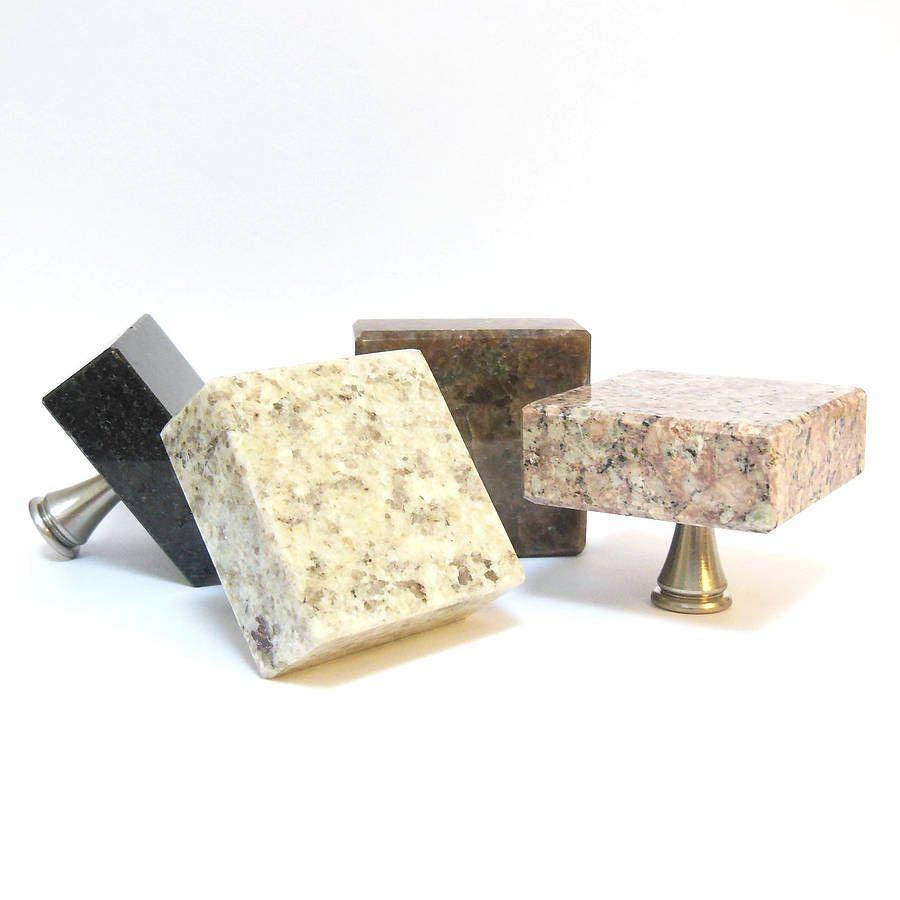 square granite cupboard door knob by pushka knobs ...