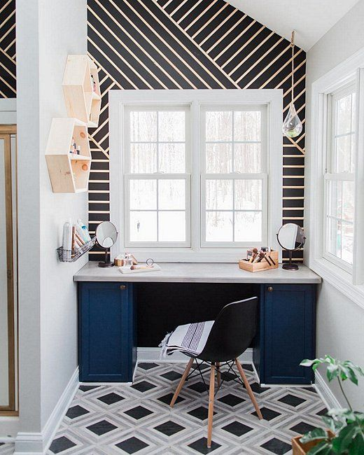 40 Creative Ideas For Bathroom Accent Walls: 9 Gorgeously Graphic Bathrooms, Courtesy Of Instagram