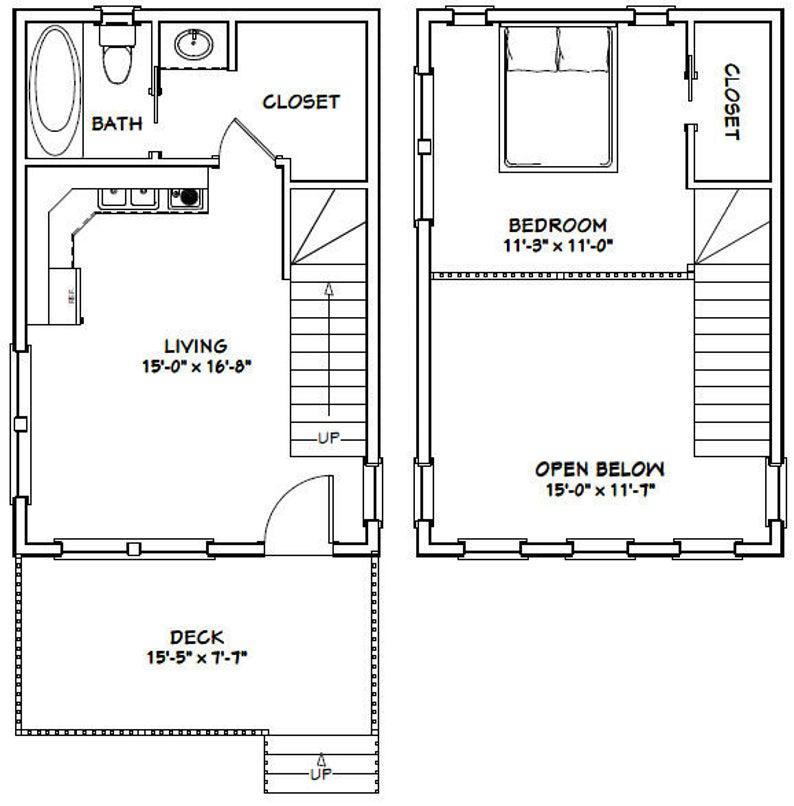 16x24 House 1 Bedroom 1 Bath 555 Sq Ft Pdf Floor Plan Instant Download Model 2a Loft Floor Plans Cabin Floor Plans Tiny House Floor Plans