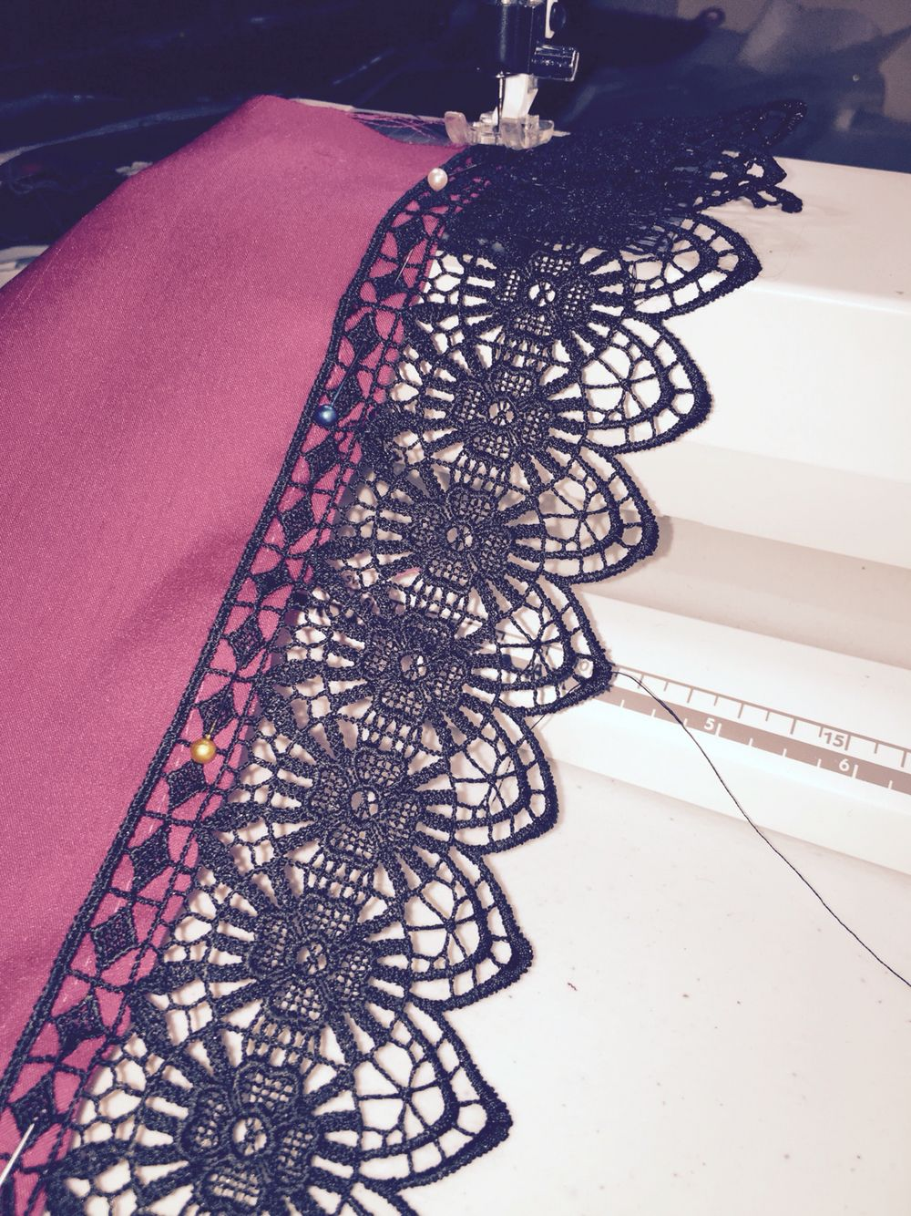 Lace detail on hit pink steam punk jacket