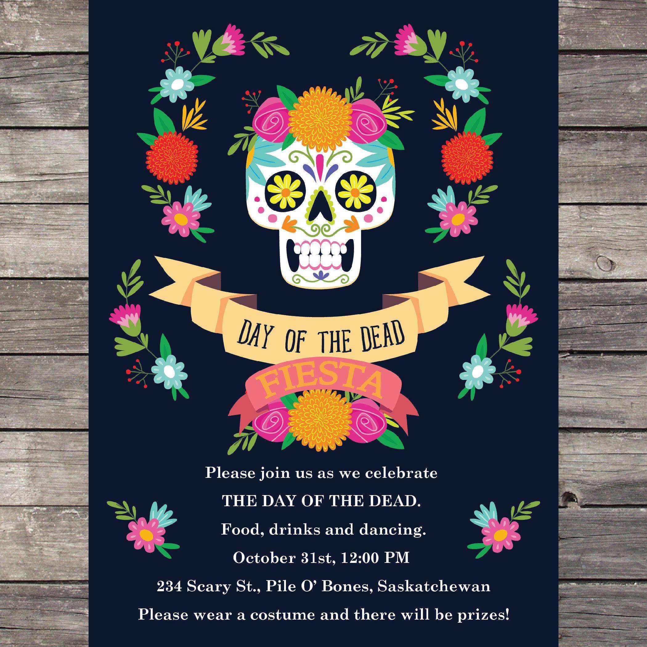 Day Of The Dead Invite Printable Dia Del Muerte Invite Sugar Skull