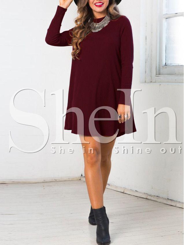 188048978 Vestido cuello redondo holgado-(Sheinside)