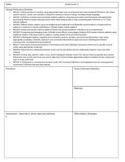 Elementary Music Lesson Plan Template, with standards
