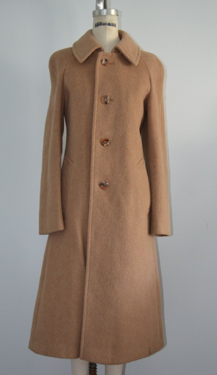 4191871cc74c Vintage Mad Men Teller of Austria Wool Caramel Long Coat Jacket ...