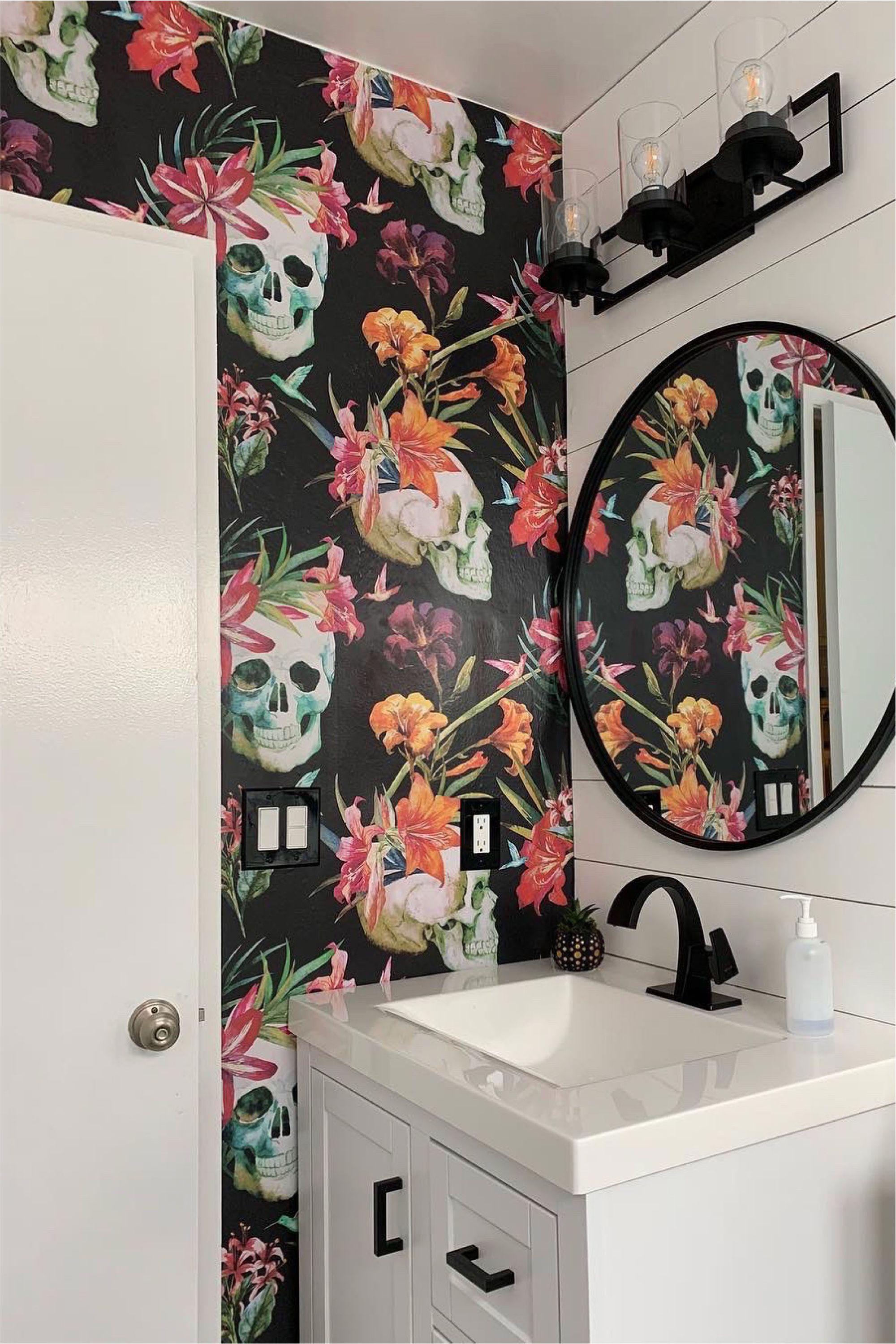 Buried Treasure Black Floral Wallpaper Removable Wallpaper Skull Wallpaper