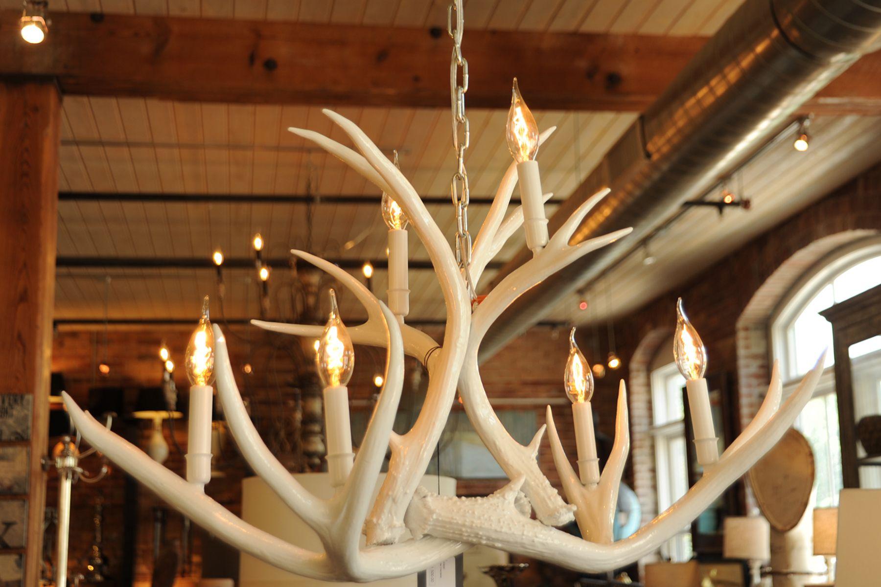 High Gloss white REAL antler chandelier w Edison bulbs