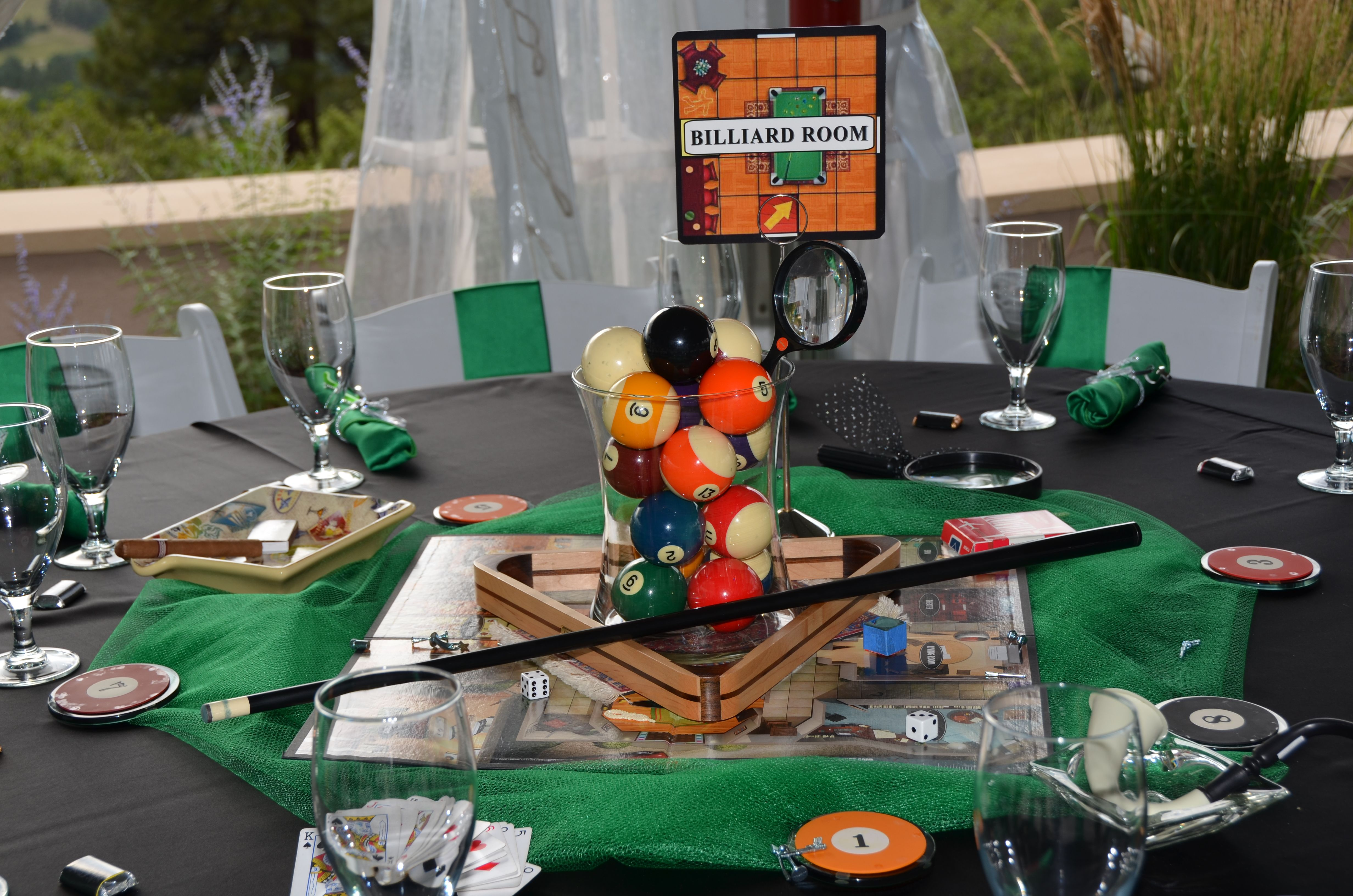 Billard Room Decorated Table Clue Party Mens Birthday Party