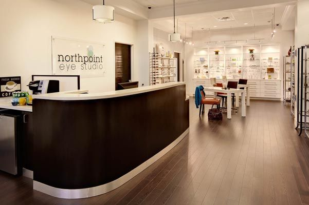 optometry office front desk coffee station eyeglass