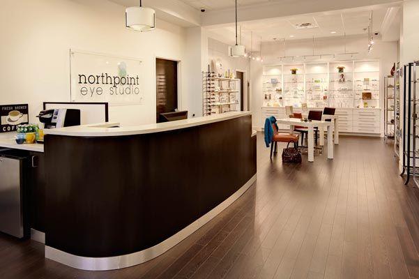 optometry office front desk / coffee station / eyeglass studio