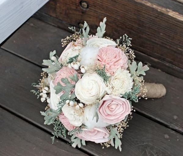Wedding Bouquet – Sola Flowers, Ivory Blush, Dusty Miller, Raw Cotton