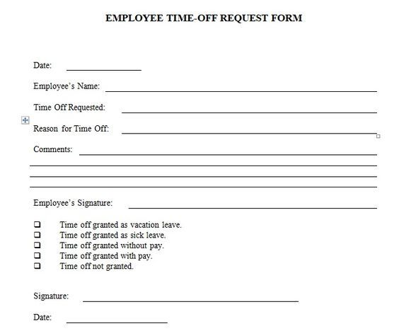 Employee Holiday Request Form Template  Employee Time Off Request