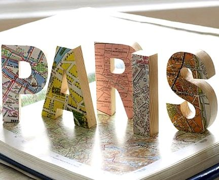 Perfect gift for the world traveler! Decoupage letters with maps of their favorite cities.