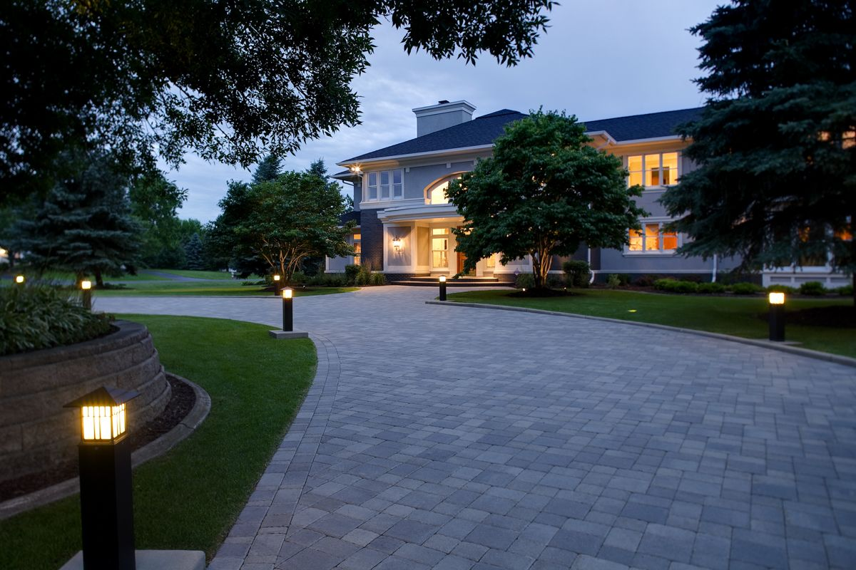 Wide paver circular driveway with bright path lights to lead the way wide paver circular driveway with bright path lights to lead the way httpsouthviewdesign aloadofball Images