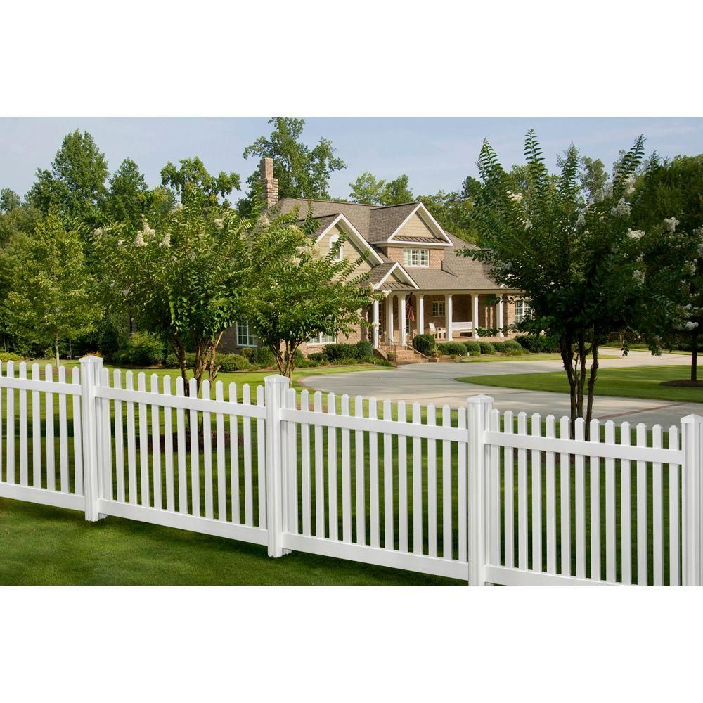 Wambam Fence 4 Ft H X 7 Ft W Premium Vinyl Classic Picket Fence Panel With Post And Cap Vf13003 The Home Depot House Fence Design Fence Design Vinyl Fence