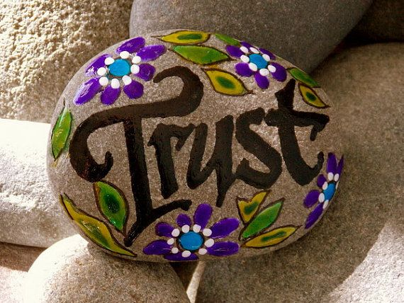 Trust / Painted Rock / Sandi Pike Foundas / Cape Cod Sea Stone