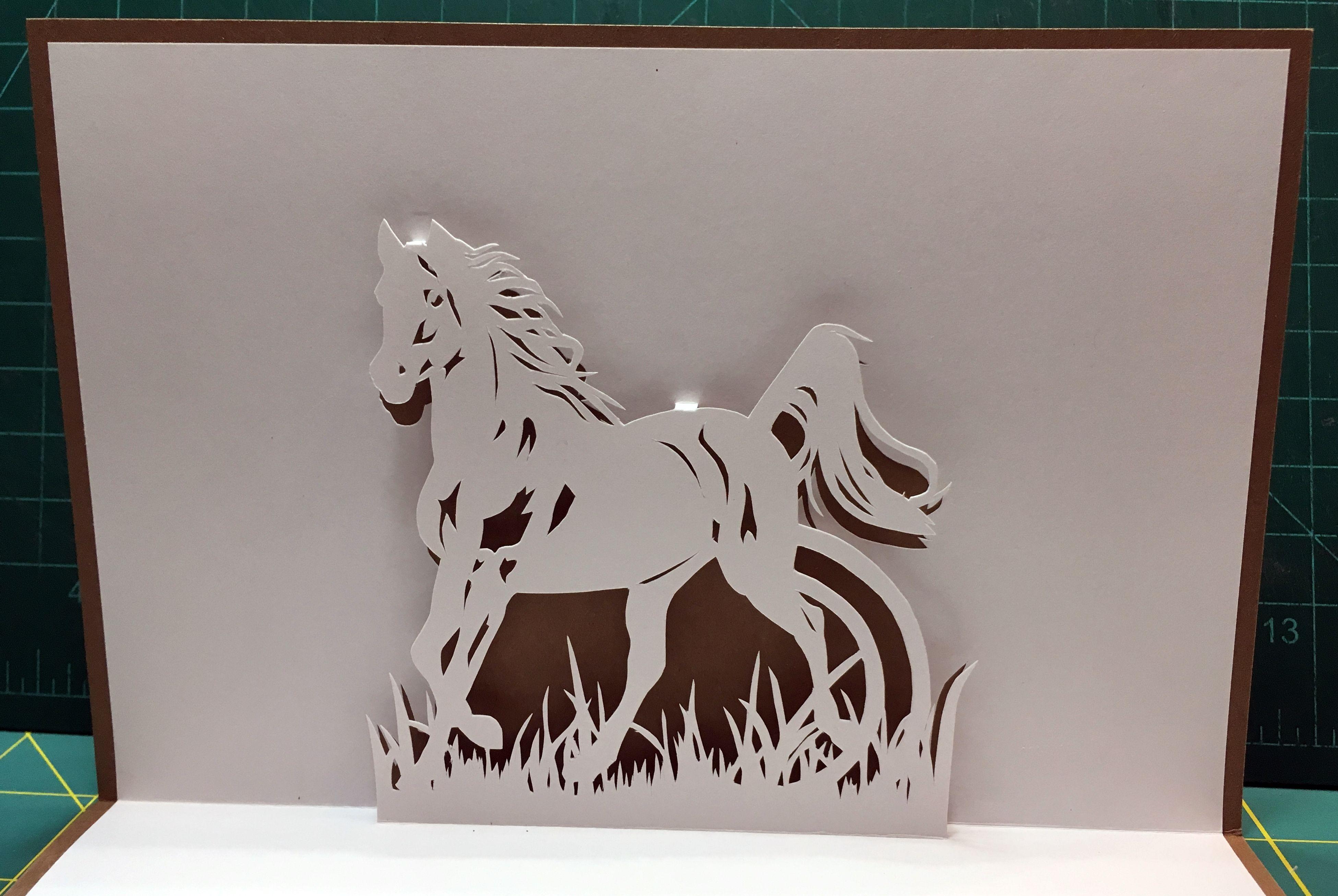 Running Horse Pop Up Card Template From Cahier De Kirigami 18