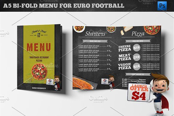 A5 Bi-Fold Menu Euro 2016 Football by Studio 19 on @creativemarket ...