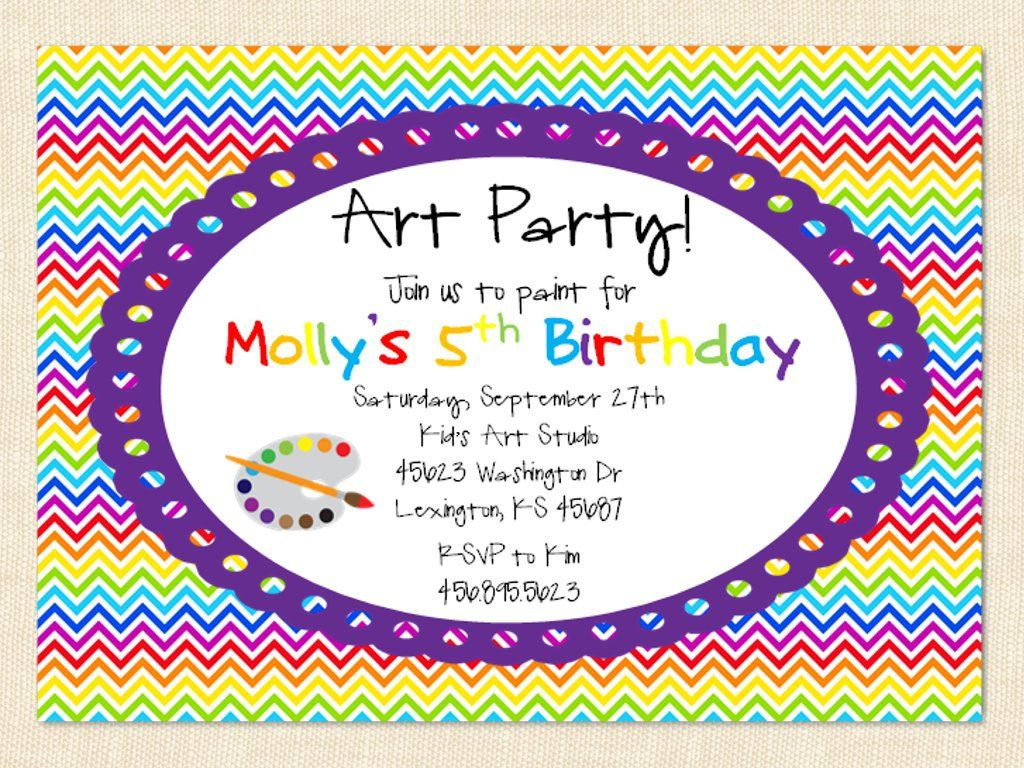 Paint Party Invitation Art Printable Girl Children Chevron