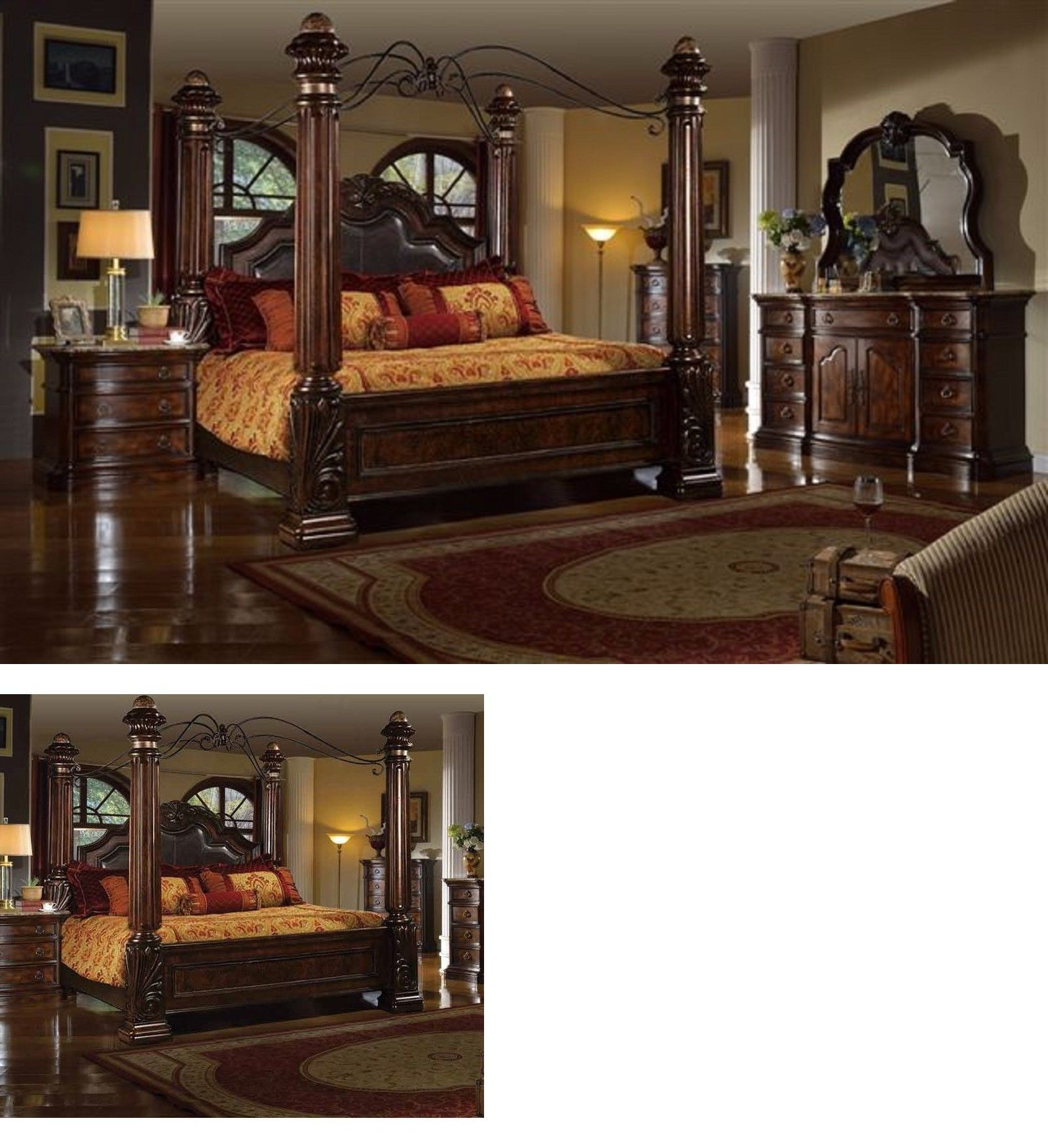 bedding mcferran rb6003 tuscan leather eastern king size on Mcferran Canopy Bed id=70426