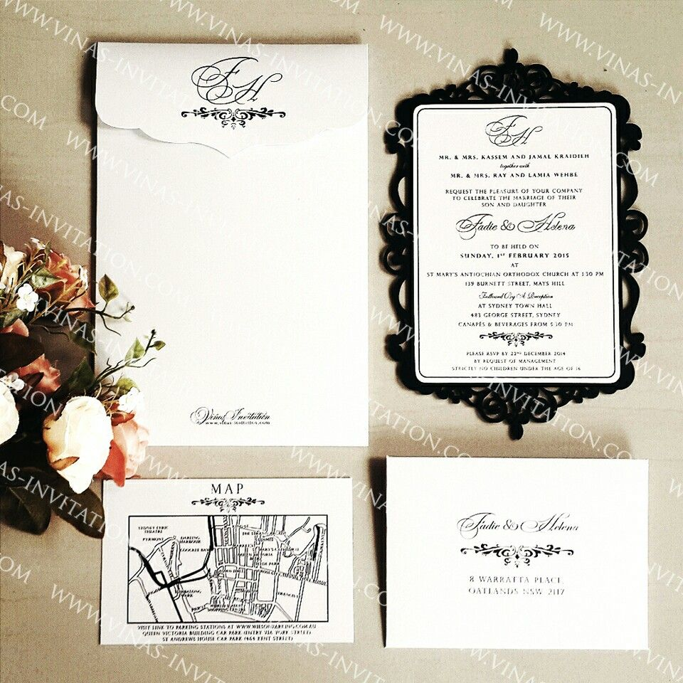 Vinas Invitation. Custom lazercut invitation in black lining. Gold ...
