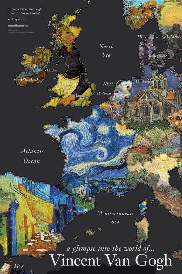 Mapa: la Europa de Van Gogh