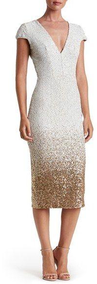c4f683e3cc14 White and Gold Ombre Sequin Dress